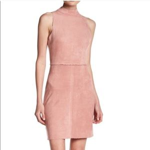 Soprano blush suede mock neck dress